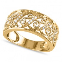 Ladies Pave Set Filigree Diamond Ring 14k Yellow Gold 0.10ct