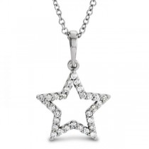 Petite Star Shape Diamond Pendant Necklace 14k White Gold 0.16ct