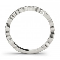 Aquamarine Leaf Fashion Ring Wedding Band 14k White Gold (0.05ct)