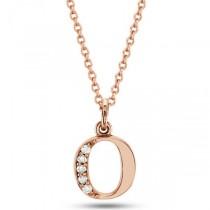 "Lowercase ""O"" Diamond Block Letter Initial Pendant in 14k Rose Gold"
