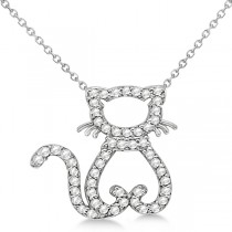 Diamond Cat Shaped Pendant Necklace 14k White Gold (0.27ctw)
