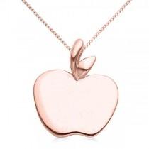Solid Apple Pendant Necklace in Plain Metal 14k Rose Gold