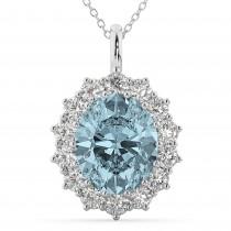 Oval Aquamarine & Diamond Halo Pendant Necklace 14k White Gold (6.40ct)