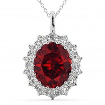 Oval Ruby & Diamond Halo Pendant Necklace 14k White Gold (6.40ct)