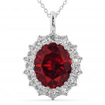 Oval Ruby & Diamond Halo Pendant Necklace 14k White Gold (6.40ct)