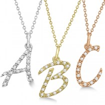 "Personalized Diamond Script ""A"" Letter Initial Necklace in 14k White Gold"