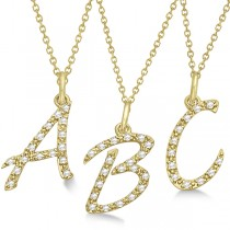 Personalized Diamond Script A Letter Initial Necklace in 14k Yellow Gold