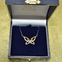 Diamond Butterfly Pendant Necklace 14k Yellow Gold (0.21ctw)