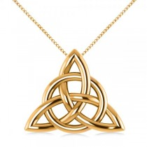 Triangular Irish Trinity Celtic Knot Pendant Necklace 14k Yellow Gold