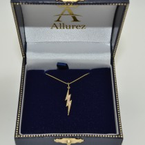 Diamond Accented Lightning Bolt Pendant Necklace in 14k Yellow Gold (0.06ct)