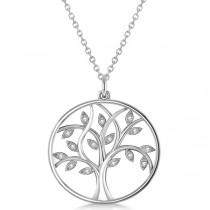 Large Diamond Tree of Life Pendant Necklace 14k White Gold (0.15ct)