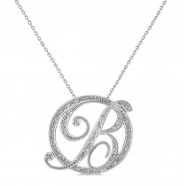 "Diamond Circle Script ""B"" Initial Pendant Necklace 14k White Gold"