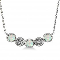 Diamond & Opal 5-Stone Pendant Necklace 14k White Gold 0.25ct