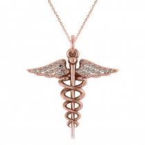 Diamond Caduceus Medical Symbol Pendant 14k Rose Gold (0.13ct)