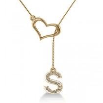 Heart & Diamond M Initial Lariat Pendant Necklace 14k Yellow Gold