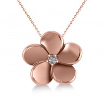 Diamond Flower Charm Pendant Necklace 14k Rose Gold (0.03ct)