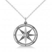 Nautical Compass Pendant Necklace Plain Metal 14k White Gold