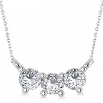 Three Stone Diamond Pendant Necklace 14k White Gold (0.45ct)
