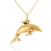 Dolphin Pendant 14k Yellow Gold