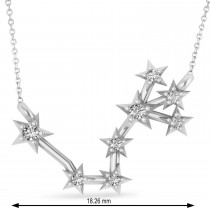 Diamond Scorpio Zodiac Constellation Star Necklace 14k White Gold (0.10ct)