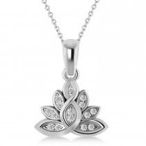 Diamond Lotus Flower Pendant Necklace 14k White Gold (0.15ct)