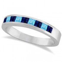 Princess-Cut Channel-Set Blue Sapphire & Blue Topaz Band 14k White Gold 1.00ct