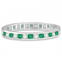 Custom-Made Emerald & Diamond Channel Set Eternity Band Ring (1.04ct)