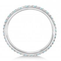 Custom-Made Petite Aquamarine Eternity Wedding Band 14k White Gold (0.25ct) size 7