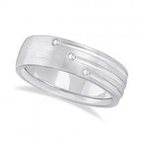 Mens Shooting Star Diamond Wedding Ring Band 14k White Gold (0.15ct)
