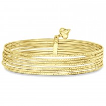 Diamond-Cut Slip-On Six Bangle Bracelets 14k Yellow Gold