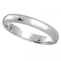 14k White Gold Wedding Band Dome Comfort-Fit Milgrain (2mm) Size 9