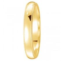 Unisex Wedding Band Dome Comfort-Fit Milgrain 14k Yellow Gold (4 mm) Size 5.25
