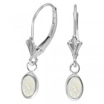 Oval Opal Bezel Leverback Earrings in 14K White Gold (0.54ct)