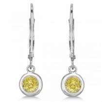 Leverback Dangling Drop Yellow Diamond Earrings 14k White Gold (0.50ct)|escape