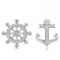 Anchor & Ship's Wheel Diamond Mismatched Earrings 14k White Gold (0.21ct)