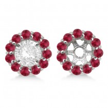 Round Ruby Earring Jackets for 7mm Studs 14K White Gold (1.32ct)