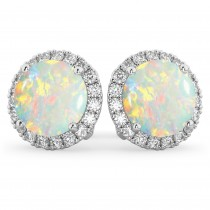 Halo Round Opal & Diamond Earrings 14k White Gold (3.17ct)