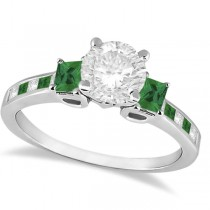 Princess Cut Diamond & Emerald Engagement Ring 18k White Gold (1.18ct)