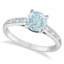 Cathedral Aquamarine & Diamond Engagement Ring 14k White Gold (1.20ct)