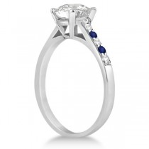 Cathedral Pave Sapphire & Diamond Engagement Ring Palladium (0.70ct)