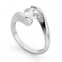 Tension Set Swirl Solitaire Engagement Ring Setting Platinum