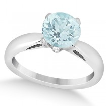 Classic Solitaire Diamond & Aquamarine Engagement Ring 14k White Gold (0.26ct)