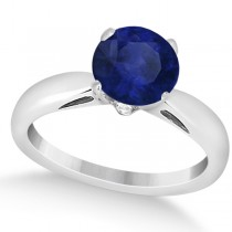 Classic Solitaire Diamond & Blue Sapphire Engagement Ring 14k White Gold (0.26ct)