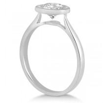 Floating Bezel Set Solitaire Engagement Ring Setting 14K White Gold (0.50ct)