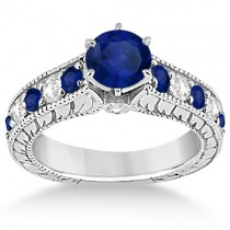 Vintage Diamond and Sapphire Engagement Ring 14k White Gold (1.41ct)