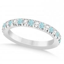 Aquamarine & Diamond Accented Wedding Band 14k White Gold 0.60ct