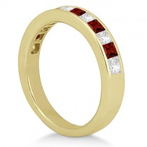 Channel Garnet & Diamond Wedding Ring 18k Yellow Gold (0.70ct)