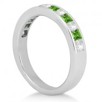 Channel Peridot & Diamond Wedding Ring 18k White Gold (0.70ct)