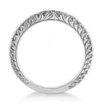 Antique Engraved Wedding Band w/ Filigree & Milgrain 14k White Gold