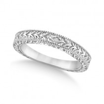 Antique Engraved Wedding Band w/ Filigree & Milgrain 14k White Gold Size 4.75